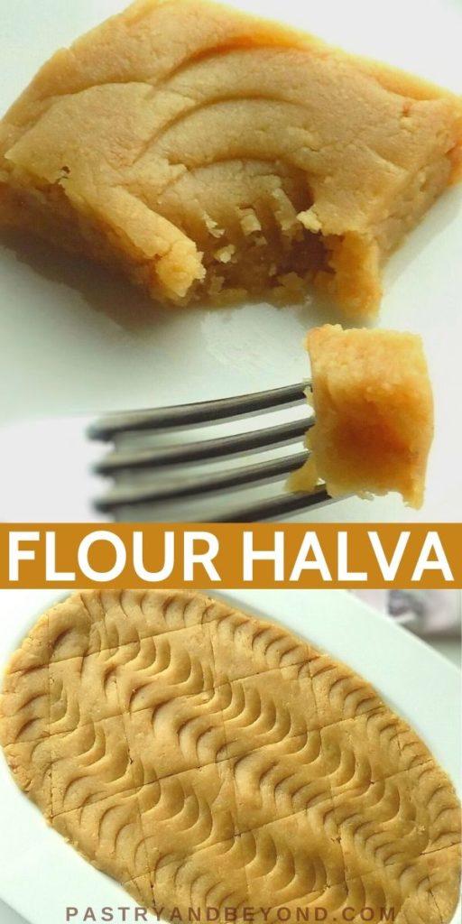 Pin of Turkish halva on a plate.
