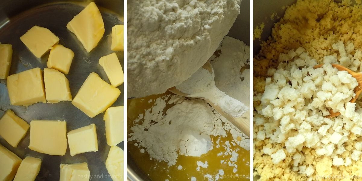 Collage of melting butter, adding the flour and bread pieces.