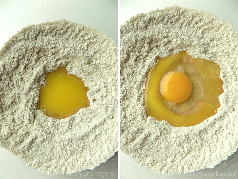 Melted butter and egg is added into the middle of the flour mixture.