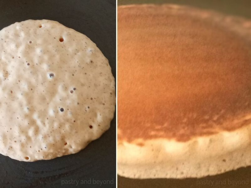 Pancake batter on a nonstick pan with bubbles on top and pancake after flipped to show how fluffy it is.