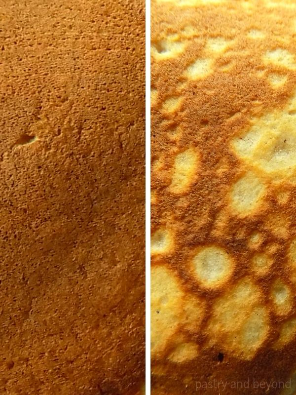 Pancake texture with flat golden brown and the other with a mottled pattern.