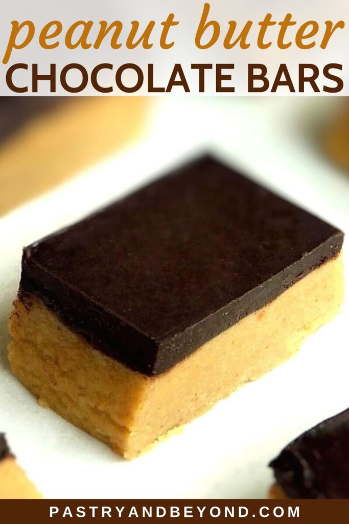 Pin of chocolate peanut butter bars