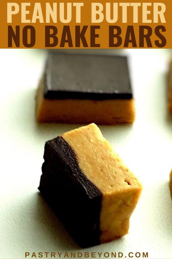 No bake chocolate peanut butter bars on a white surface with text overlay.