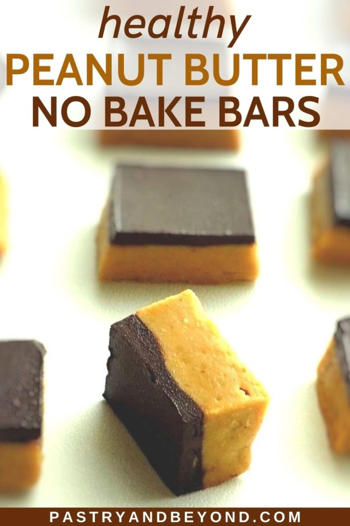 Peanut butter oat bars with text overlay.