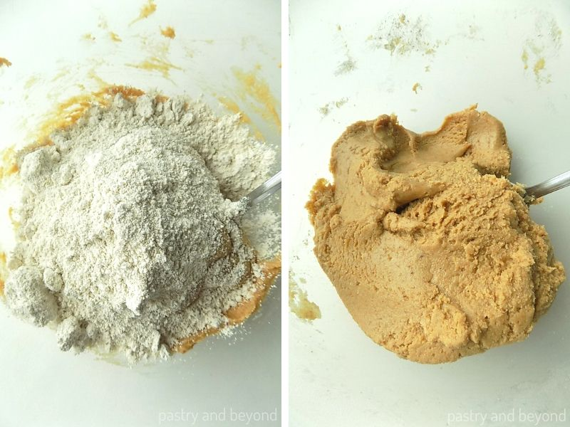 Adding oat flour over the peanut butter mixture and stirring with a spoon.