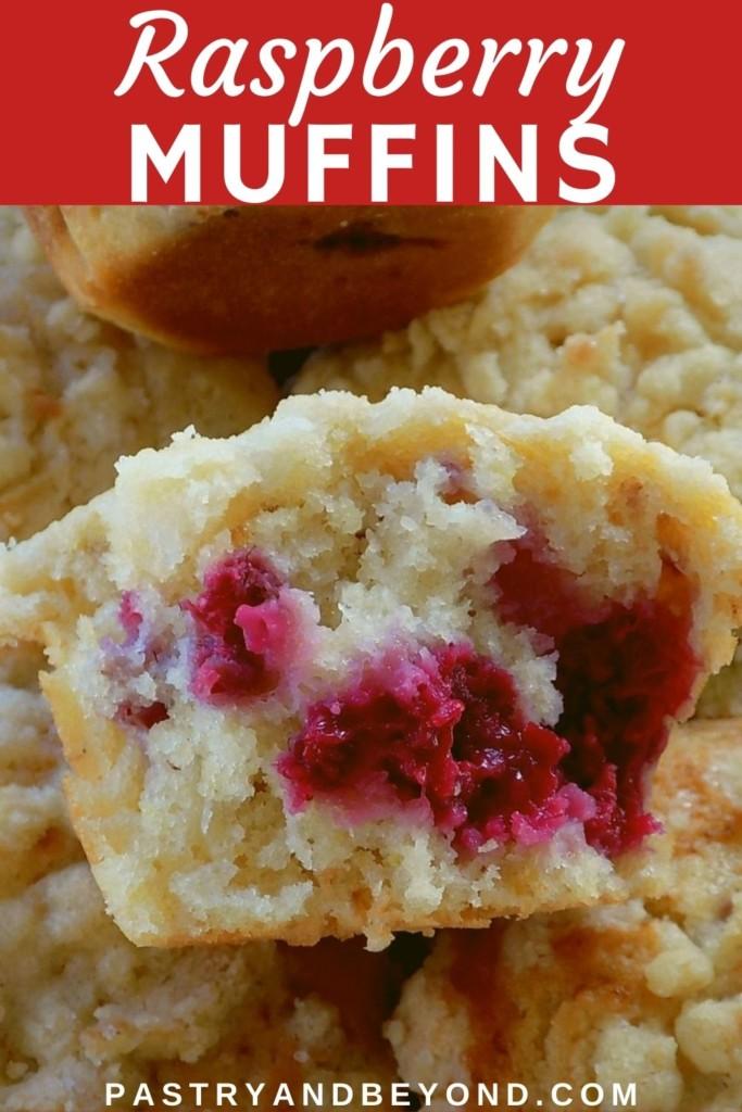 Half of a raspberry muffin.