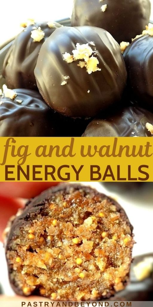Fig and walnut balls with text overlay.
