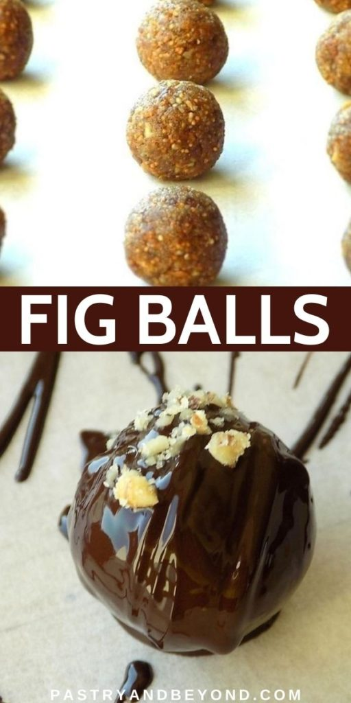 Fig balls with text overlay.