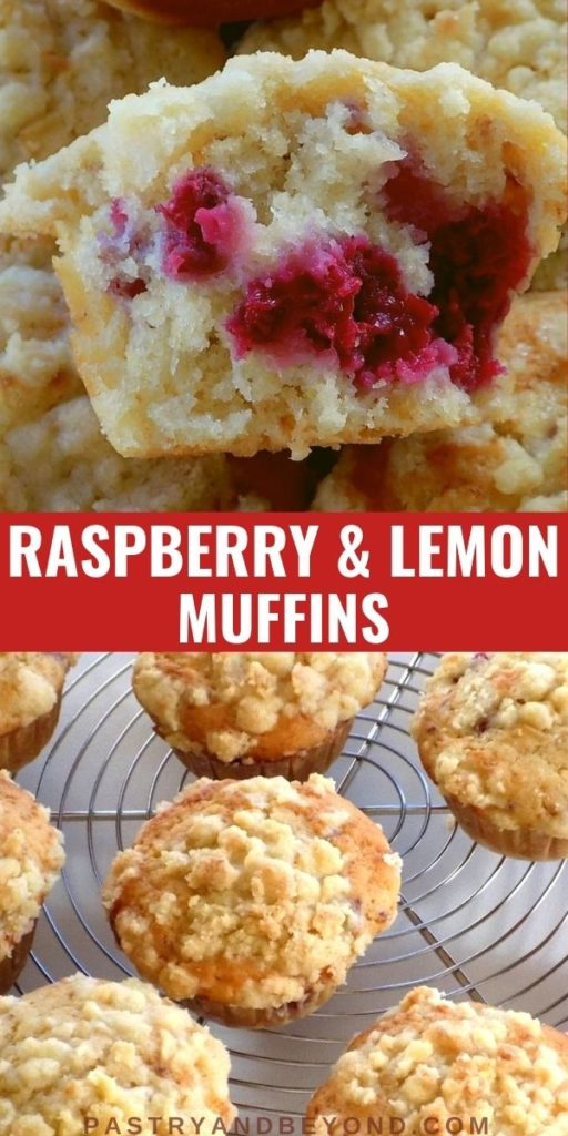 Half of the raspberry streusel muffins and the overhead view of raspberry muffins with text overlay.