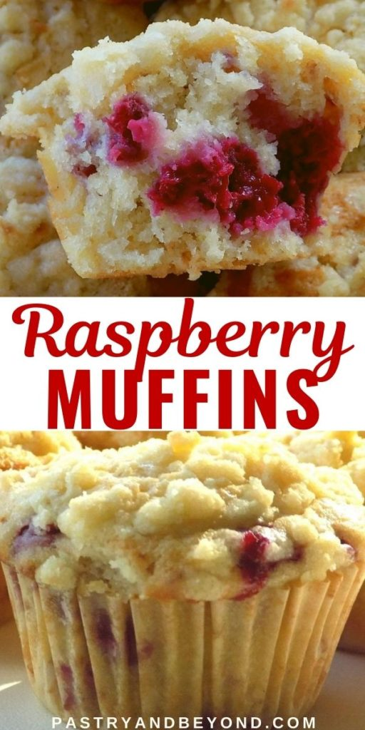 Raspberry muffins with crumble topping.