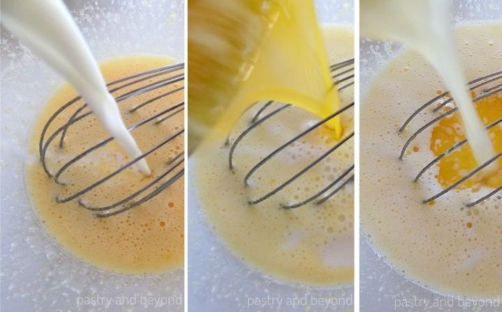 Milk, melted butter and lemon juice are poured over the egg mixture.