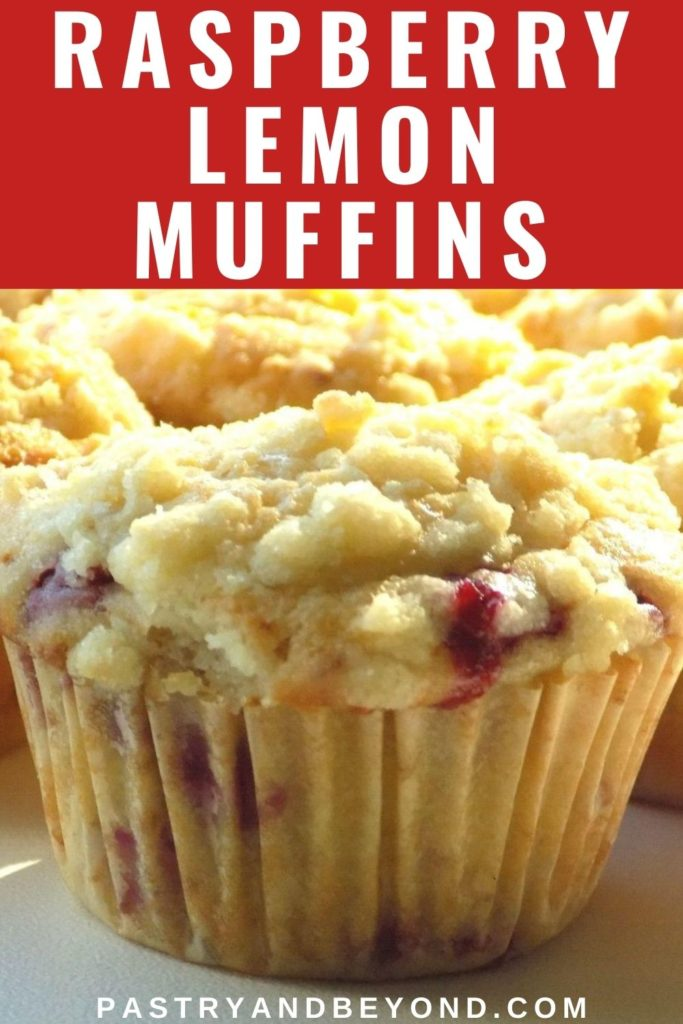 Raspberry lemon muffin with text overlay