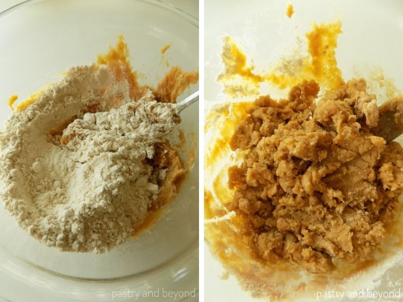 Oat flour is added on top of peanut butter banana mixture and mixed.