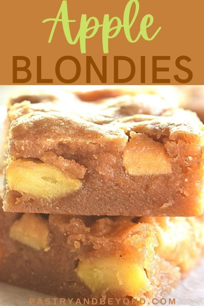 Stacked apple blondies with text overlay.