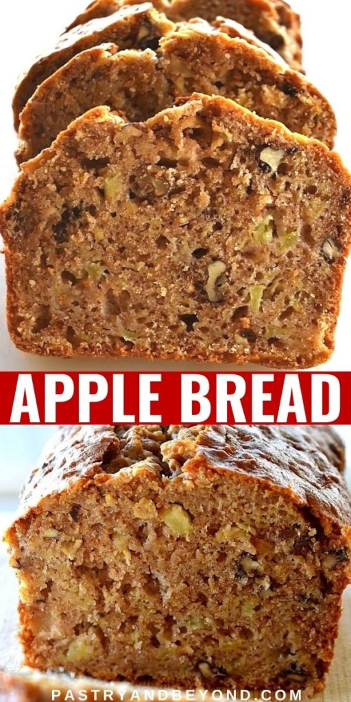 Apple cake loaf slices.