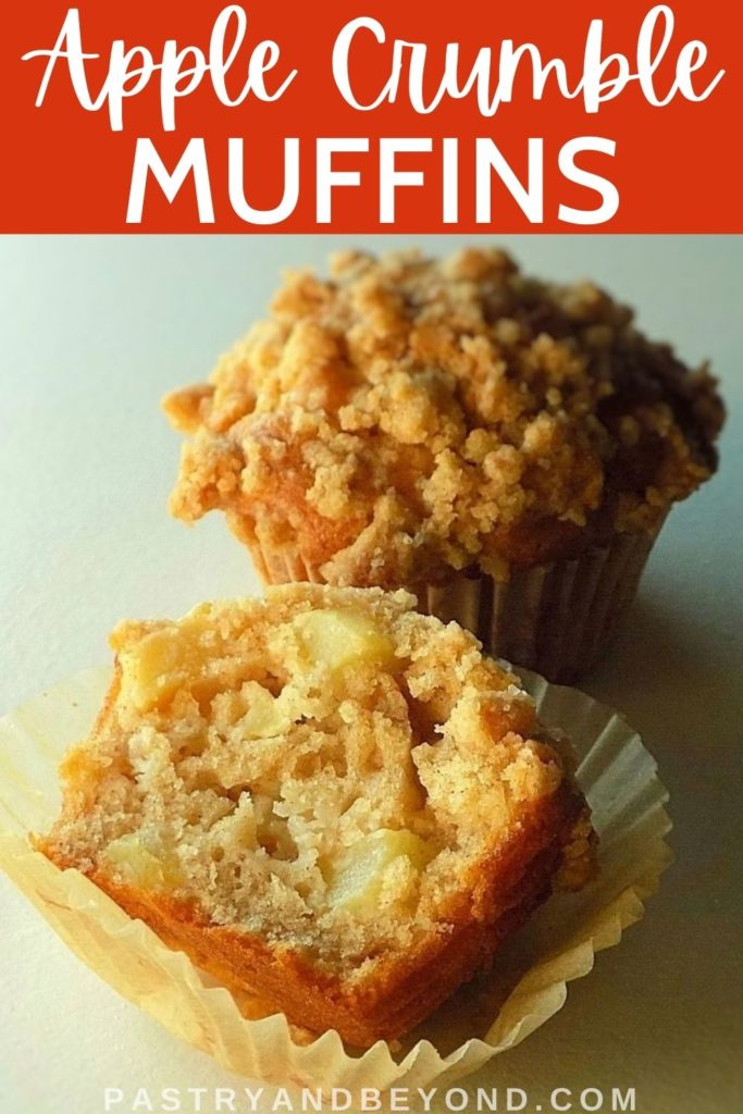 Showing the inside of the apple muffin.