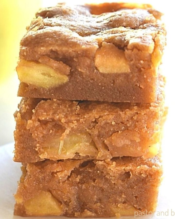 Stacked apple blondies.