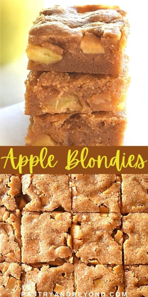 Stacked apple blondies and overhead view of these blondies.