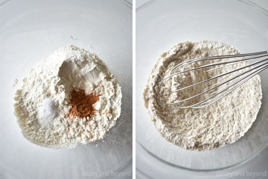 Mixing the flour, salt and cinnamon in a bowl with a whisk.