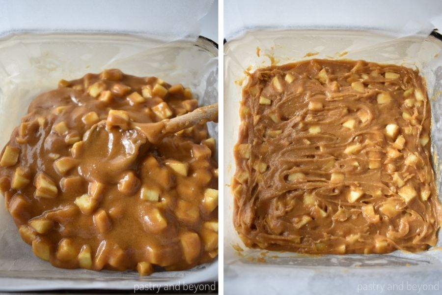 Apple blondie batter in a baking dish that is spread evenly with a spoon.
