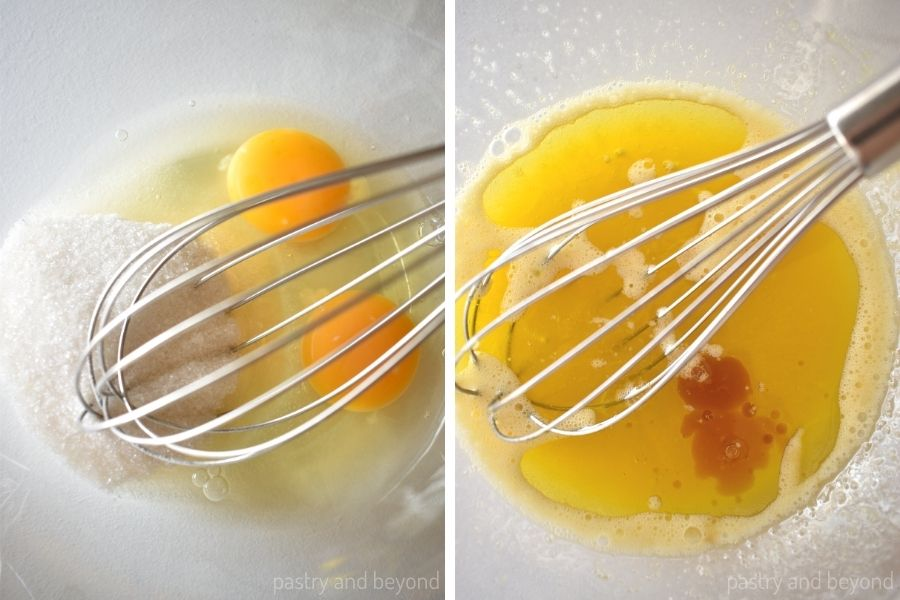 Eggs and sugar in a bowl with a whisk.  Olive oil and vanilla extract are added into the whisked mixture.