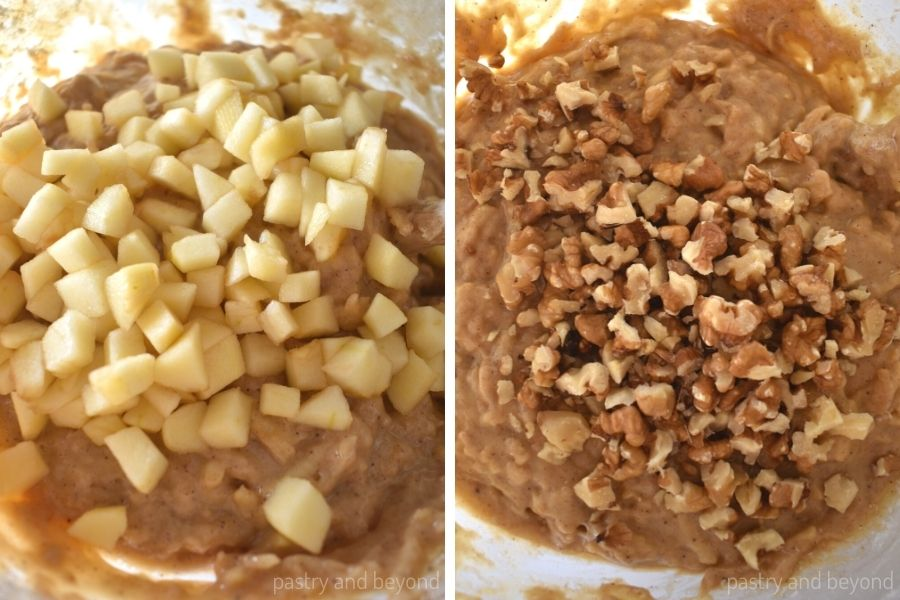 Chopped apples are added on top of the mixture. After the apples are folded, walnuts are added on top.