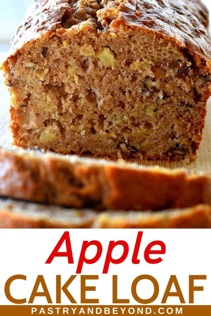Apple cake loaf cut in half and slices on a wooden board.