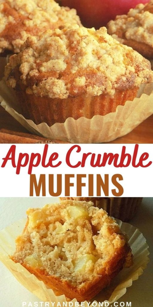 Showing both whole apple crumble muffin and the half of it to show the inside.