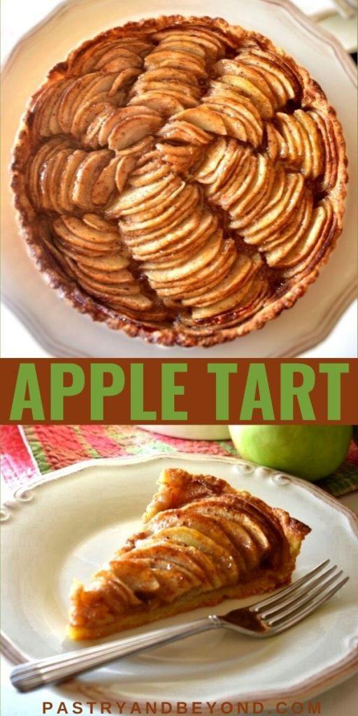 Apple tart with text overlay.