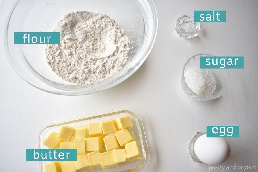 Ingredients for tart dough.