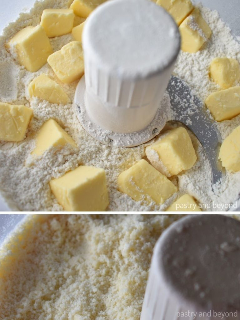 Butter is added into the flour mixture to turn the mixture into breadcrumbs consistency.