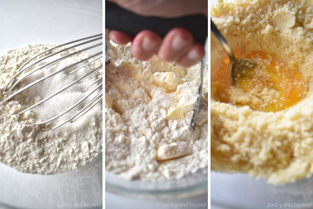 Flour and sugar in a bowl. Cutting butter into flour with a pastry cutter, adding egg.