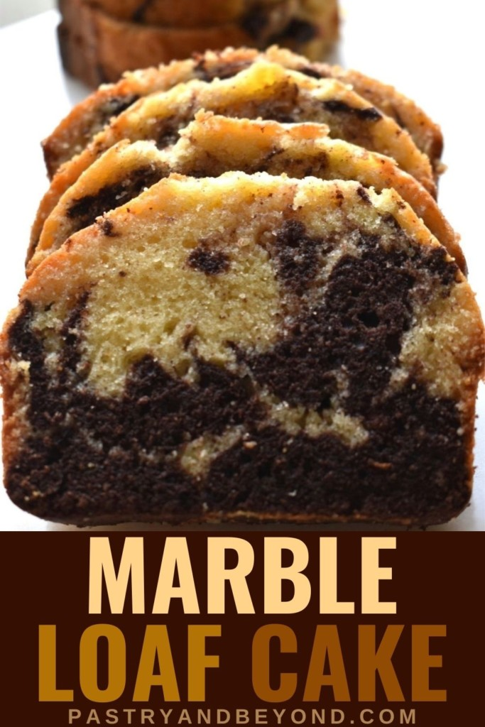 Marble cake slices in a row with text overlay.