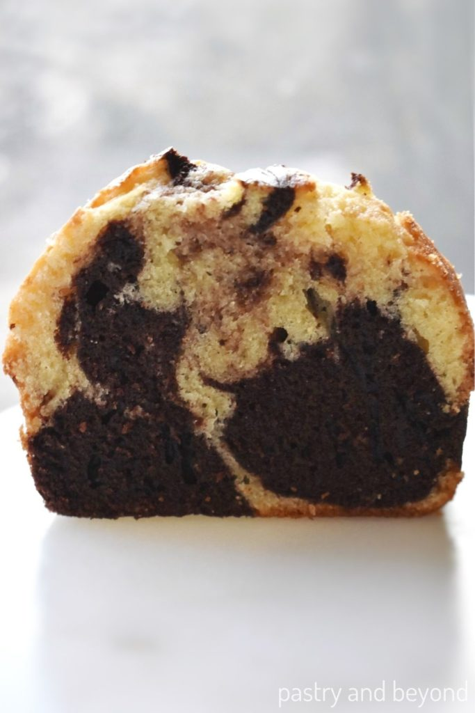 Front view of marble loaf cake.