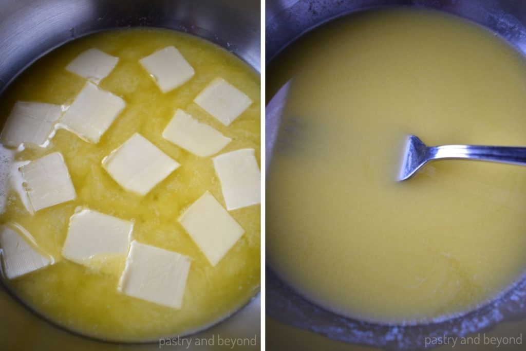 Halfway melted butter stirred with a fork till melted.