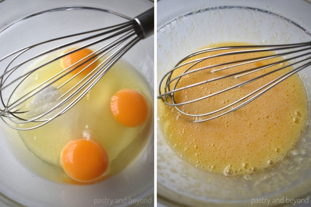 Eggs and sugar in a mixing bowl mixed with a whisk.