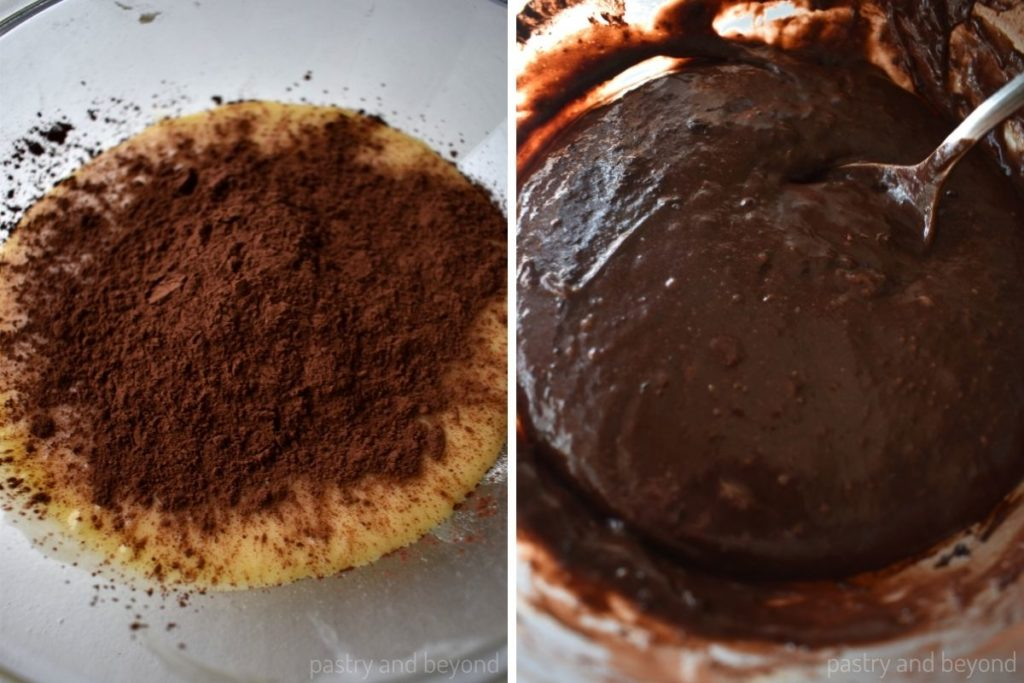 Cocoa powder added to the batter and after stirred with a spoon.