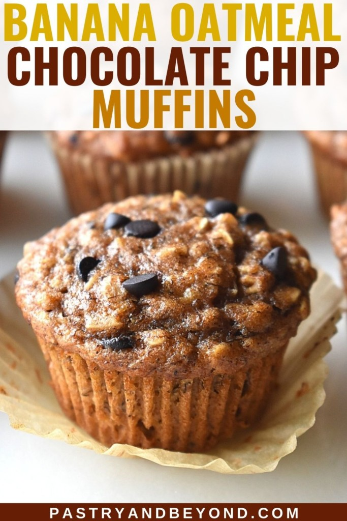 Banana oatmeal chocolate chip muffins with text overlay.