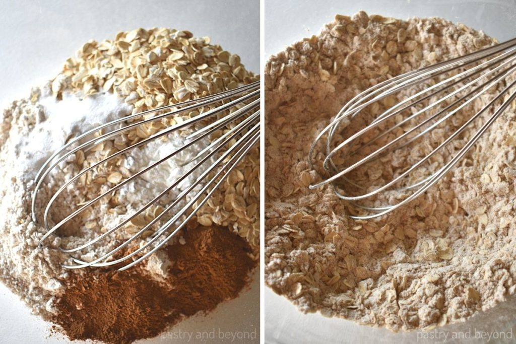 Whole wheat flour, oatmeal, cinnamon, baking powder, baking soda in a bowl before and after whisked.