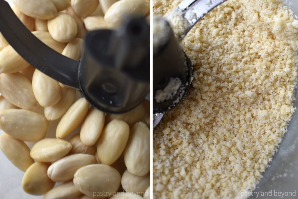 Collage of blanched almonds in a food processor before and after grounded to small pieces.