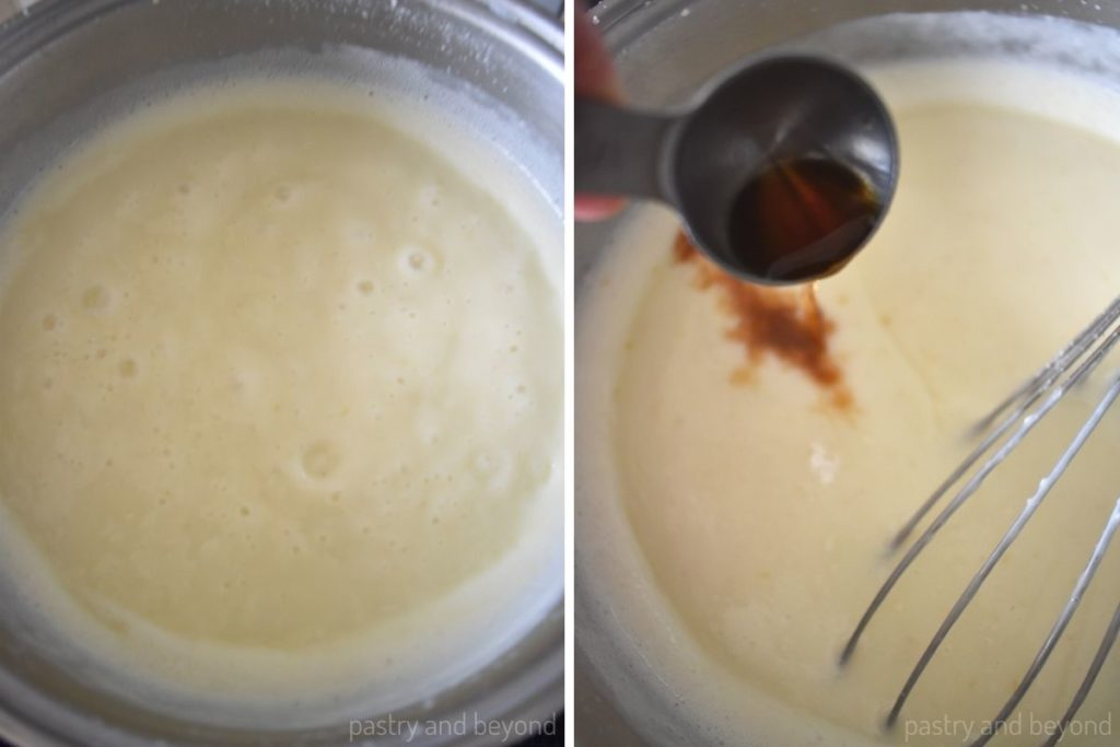 Collage of boiling mixture and adding vanilla extract.