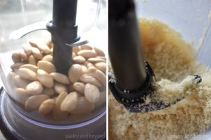 Collage of blanched almonds in a blender before and after grounded.