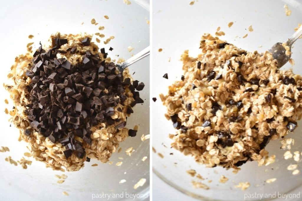 Collage for adding small chocolate pieces to the mixture and stirring with a fork.