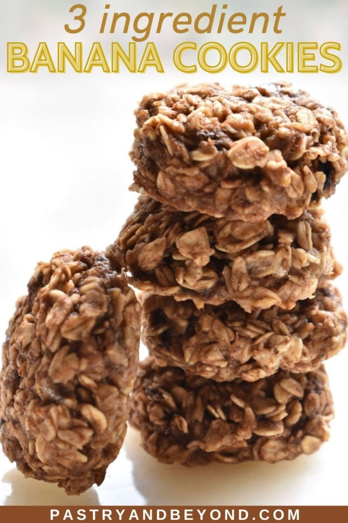 Stacked banana cinnamon oatmeal cookies.